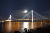 Bridge Russky in Vladivostok at moonlit night. Russia