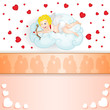 Cupid over cloud over heart background