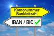 Wegweiser - Kontonummer / IBAN BIC über blauen Himmel