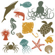 sea animals and fish icons - vector illustration - 60798539