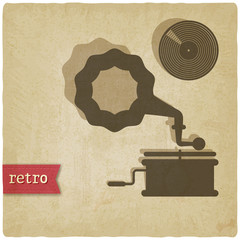old background with gramophone and record - vector illustration