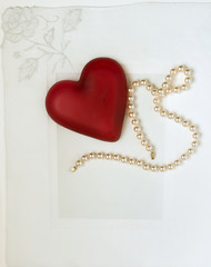 Nostalgic Heart with Pearls on White