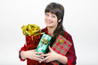 young woman with packaged gifts
