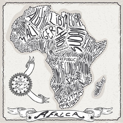 Africa Map on Vintage Handwriting Page