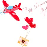 Valentine's card with envelope and airplane