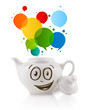 Coffee can with colorful abstract speech bubble