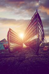 wooden boats sundown
