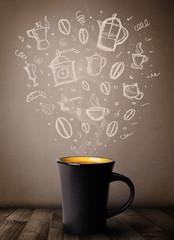 Coffee mug with hand drawn kitchen accessories © ra2 studio