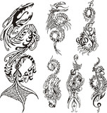Vertical stylized dragon tattoos