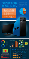 Desktop Computer Infographic Elements - Vector Illustration