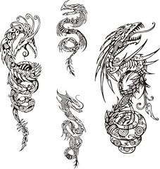 Stylized dragon spiral tattoos