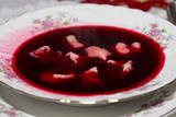 Red borscht with mushroom ravioli