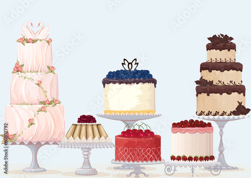 Vector fancy cakes collection