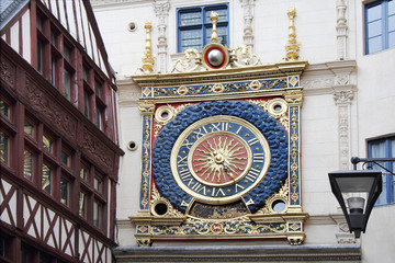 Old gold clock in Ruan