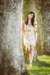 Relaxed natural woman spring portrait