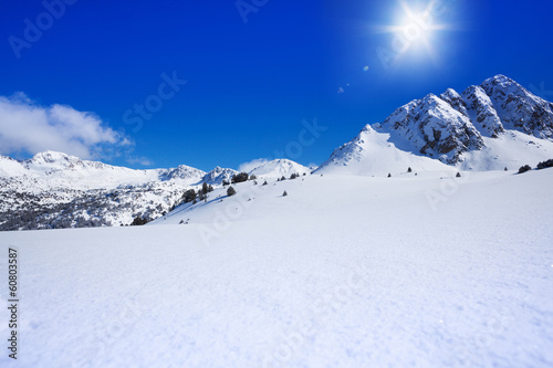 Untouched snow mountain beauty