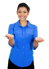 Woman with rised up palm arms offering help on white background