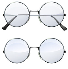 round transparent glasses
