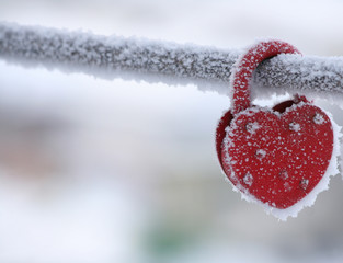 frozen heart-shaped lock as a symbol