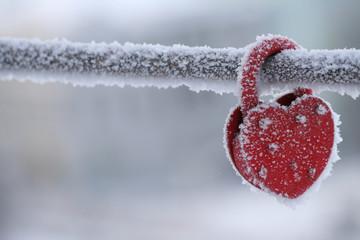 frozen heart-shaped lock as a love symbol