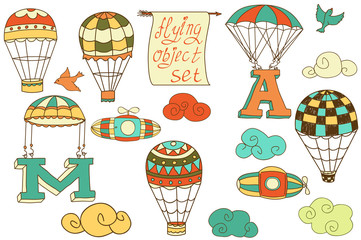 flying objects set vintage icons isolated