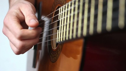 Finger style guitar playing