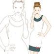 Stylish girl in dress hand drawn vector illustration