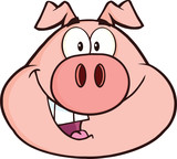 Happy Pig Head Cartoon Mascot Character