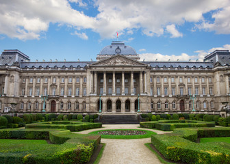Facade of  Royal Palace in Brussels