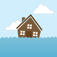 House floating in water flood