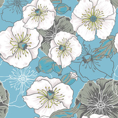 Blue poppy flowers - vector seamless pattern