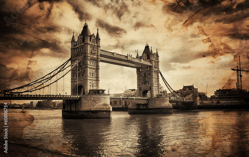 Vintage Retro Picture of Tower Bridge in London, UK - 60806754