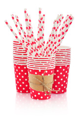 Paper cups and polka dot straws