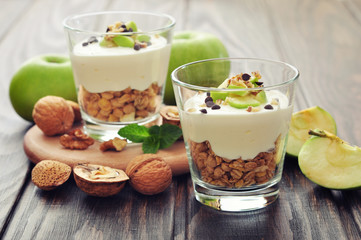 Dessert with yogurt and granola