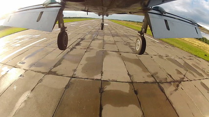 plane landing - view from undercarriage