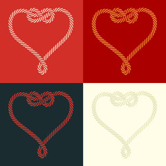 Set of four stylized heart rope shaped with knot