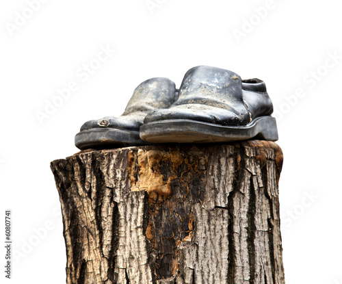 old shoes on a white background