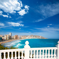 Benidorm balcon del Mediterraneo sea from white balustrade