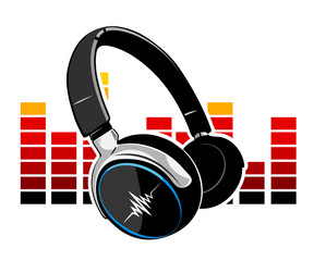 Headphones with an equalizer in the background
