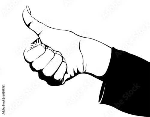 Comic style woman thumbs up gesture