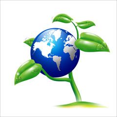 Vector EPS 10 Isolated Earth and small plant