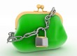 Locked up green purse. 3d render illustration on white