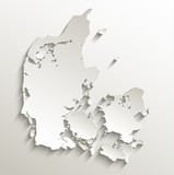 Denmark map card paper 3D natural vector