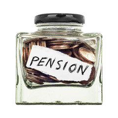 Pension, a small glass jar of coins