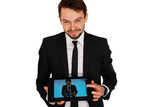 Businessman showing a self-portrait on a tablet
