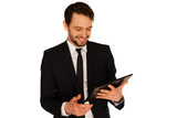 happy businesman with tablet