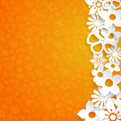 Background with paper flowers, white on orange