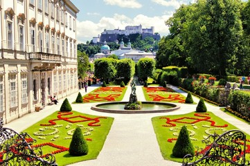 View through beautiful gardens to castle, Salzburg, Austria