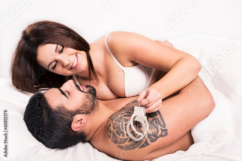 Love couple in bed