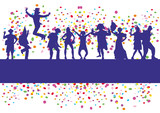 people contour carnival party confetti vector